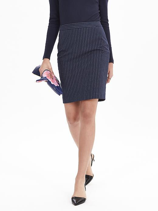 Pinstripe Pencil Skirt Preppy Navy - style: pencil; fit: tailored/fitted; pattern: pinstripe; waist: high rise; predominant colour: navy; secondary colour: light grey; occasions: work, creative work; length: just above the knee; fibres: polyester/polyamide - mix; pattern type: fabric; texture group: other - light to midweight; pattern size: light/subtle (bottom); season: s/s 2016; wardrobe: highlight