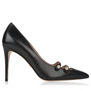 Aneta Double Strap Court Shoes - predominant colour: black; occasions: work; material: leather; heel: stiletto; toe: pointed toe; style: courts; finish: plain; pattern: plain; heel height: very high; season: s/s 2016