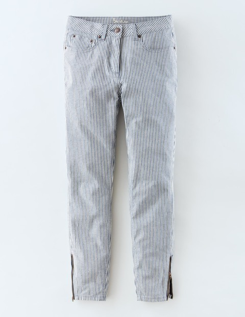 Zip Ankle Skimmer Ticking Stripe Women, Ticking Stripe - style: straight leg; length: standard; pattern: pinstripe; waist: mid/regular rise; predominant colour: denim; occasions: casual; fibres: cotton - stretch; pattern type: fabric; texture group: woven light midweight; season: s/s 2016; wardrobe: highlight