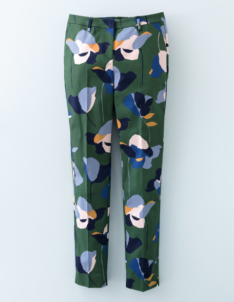 Twickenham Trouser Wellington Green Print Women, Wellington Green Print - length: standard; waist: mid/regular rise; secondary colour: pale blue; predominant colour: dark green; occasions: casual; fibres: cotton - stretch; fit: slim leg; pattern type: fabric; pattern: florals; texture group: other - light to midweight; style: standard; pattern size: big & busy (bottom); multicoloured: multicoloured; season: s/s 2016; wardrobe: highlight
