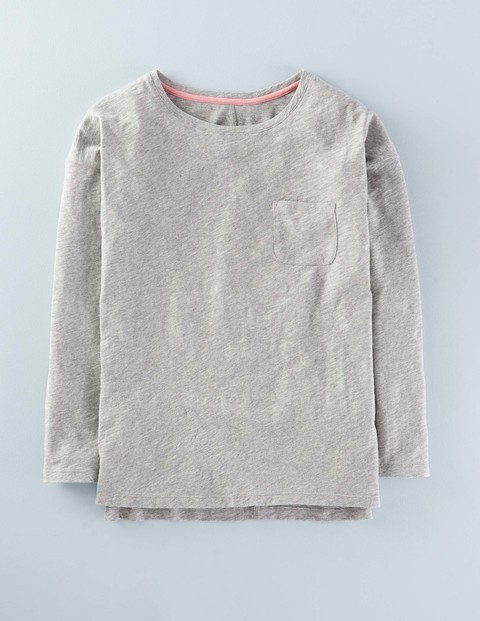 Lightweight Drop Shoulder Grey Marl Women, Grey Marl - neckline: round neck; pattern: plain; predominant colour: light grey; occasions: casual; length: standard; style: top; fibres: cotton - 100%; fit: body skimming; sleeve length: long sleeve; sleeve style: standard; pattern type: fabric; texture group: jersey - stretchy/drapey; season: s/s 2016; wardrobe: basic