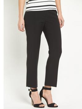 Crop Trouser - pattern: plain; waist: mid/regular rise; predominant colour: black; occasions: work, creative work; length: ankle length; fibres: polyester/polyamide - stretch; fit: straight leg; pattern type: fabric; texture group: other - light to midweight; style: standard; season: s/s 2016; wardrobe: basic