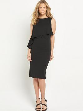 Double Layered Dress - style: shift; length: below the knee; pattern: plain; sleeve style: sleeveless; hip detail: draws attention to hips; predominant colour: black; occasions: evening; fit: body skimming; fibres: polyester/polyamide - 100%; neckline: crew; sleeve length: sleeveless; pattern type: fabric; texture group: other - light to midweight; season: s/s 2016; wardrobe: event
