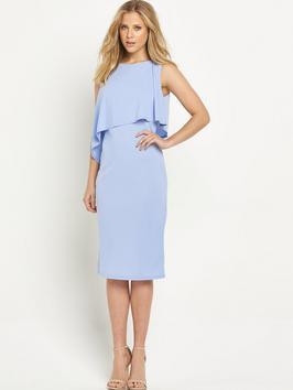 Double Layered Dress - style: shift; length: below the knee; pattern: plain; sleeve style: sleeveless; predominant colour: pale blue; fit: body skimming; fibres: polyester/polyamide - 100%; occasions: occasion; neckline: crew; sleeve length: sleeveless; pattern type: fabric; texture group: other - light to midweight; season: s/s 2016; wardrobe: event
