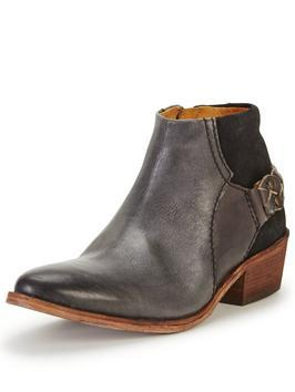 Triad Leather Western Ankle Boot - predominant colour: charcoal; occasions: casual; material: leather; heel height: mid; embellishment: buckles; heel: block; toe: round toe; boot length: ankle boot; style: cowboy; finish: plain; pattern: plain; season: s/s 2016
