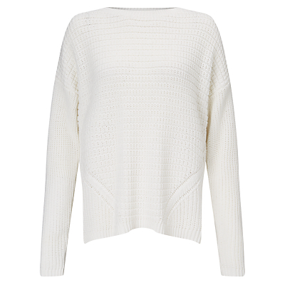 Mix Stitch Jumper - pattern: plain; style: standard; predominant colour: white; occasions: casual, creative work; length: standard; fibres: cotton - 100%; fit: standard fit; neckline: crew; sleeve length: long sleeve; sleeve style: standard; texture group: knits/crochet; pattern type: knitted - fine stitch; pattern size: standard; season: s/s 2016; wardrobe: basic