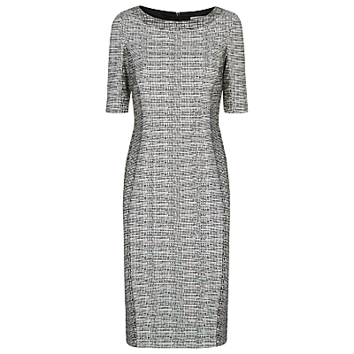 Sri Lanka Dress, Black/Ivory - style: shift; neckline: round neck; fit: tailored/fitted; secondary colour: light grey; predominant colour: black; occasions: work, occasion, creative work; length: just above the knee; fibres: polyester/polyamide - stretch; sleeve length: short sleeve; sleeve style: standard; pattern type: fabric; pattern size: standard; pattern: patterned/print; texture group: other - light to midweight; season: s/s 2016; wardrobe: highlight