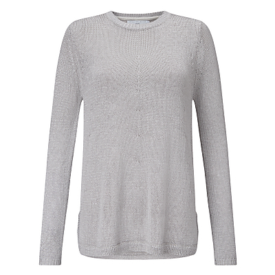 Metallic A Line Jumper, Silver - pattern: plain; style: standard; predominant colour: silver; occasions: casual, creative work; length: standard; fit: standard fit; neckline: crew; sleeve length: long sleeve; sleeve style: standard; texture group: knits/crochet; pattern type: knitted - fine stitch; fibres: viscose/rayon - mix; season: s/s 2016; wardrobe: highlight