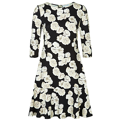 Bahamas Print Dress, Black/Ivory - style: shift; neckline: round neck; fit: tailored/fitted; waist detail: drop waist; secondary colour: ivory/cream; predominant colour: black; occasions: casual, creative work; length: just above the knee; fibres: viscose/rayon - stretch; sleeve length: 3/4 length; sleeve style: standard; pattern type: fabric; pattern size: standard; pattern: florals; texture group: jersey - stretchy/drapey; season: s/s 2016; wardrobe: highlight