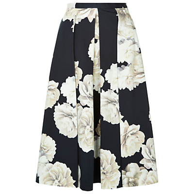 Bahamas Skirt, Black/Ivory - length: below the knee; style: full/prom skirt; fit: loose/voluminous; waist: high rise; secondary colour: ivory/cream; predominant colour: black; fibres: cotton - stretch; occasions: occasion; hip detail: adds bulk at the hips; pattern type: fabric; pattern: florals; texture group: other - light to midweight; pattern size: big & busy (bottom); season: s/s 2016; wardrobe: event