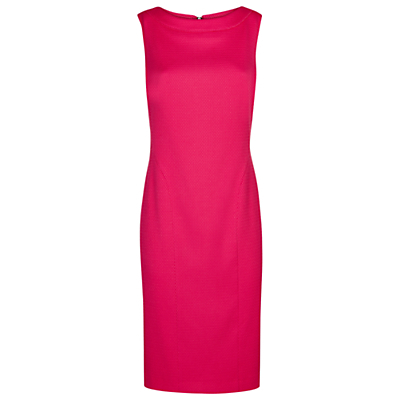 Mauritius Dress, Pink - style: shift; neckline: slash/boat neckline; fit: tailored/fitted; pattern: plain; sleeve style: sleeveless; predominant colour: hot pink; length: on the knee; fibres: polyester/polyamide - stretch; occasions: occasion; sleeve length: sleeveless; pattern type: fabric; texture group: other - light to midweight; season: s/s 2016; wardrobe: event