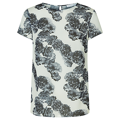 Aruba Floral Top, Shadow Print - sleeve style: capped; secondary colour: ivory/cream; predominant colour: charcoal; occasions: casual, creative work; length: standard; style: top; fibres: polyester/polyamide - 100%; fit: straight cut; neckline: crew; back detail: keyhole/peephole detail at back; sleeve length: short sleeve; pattern type: fabric; pattern size: standard; pattern: florals; texture group: woven light midweight; season: s/s 2016; wardrobe: highlight