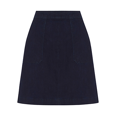 Pocket Detail Skirt, Indigo - length: mid thigh; pattern: plain; fit: loose/voluminous; waist: high rise; predominant colour: navy; occasions: casual, creative work; style: a-line; fibres: cotton - stretch; texture group: denim; pattern type: fabric; season: s/s 2016