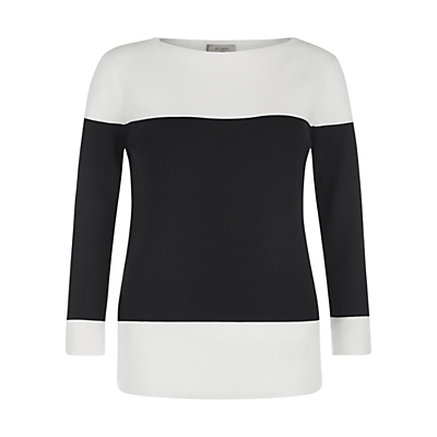 Hattie Jumper, Ivory/Black - style: standard; secondary colour: white; predominant colour: black; occasions: casual, creative work; length: standard; fibres: wool - mix; fit: slim fit; neckline: crew; sleeve length: 3/4 length; sleeve style: standard; trends: monochrome; texture group: knits/crochet; pattern type: knitted - fine stitch; pattern: colourblock; season: s/s 2016; wardrobe: highlight
