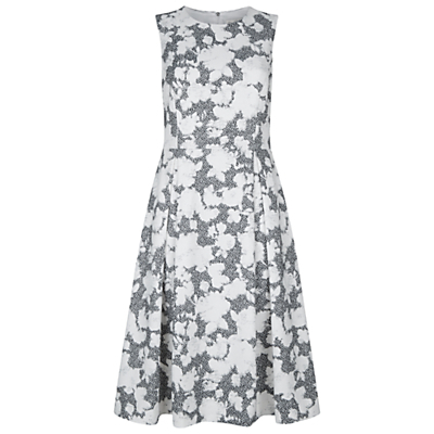 Floral Corset Maya Dress, Ivory/Black - length: below the knee; sleeve style: sleeveless; predominant colour: ivory/cream; secondary colour: black; fit: fitted at waist & bust; style: fit & flare; fibres: cotton - stretch; occasions: occasion; neckline: crew; hip detail: subtle/flattering hip detail; sleeve length: sleeveless; texture group: cotton feel fabrics; pattern type: fabric; pattern size: big & busy; pattern: patterned/print; season: s/s 2016; wardrobe: event