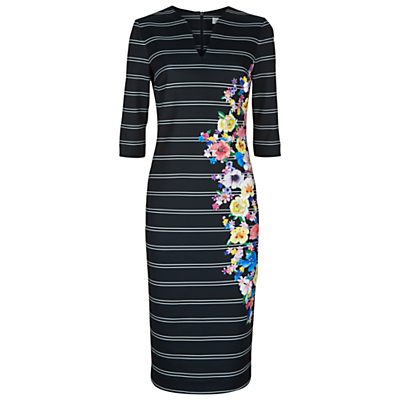 Floral Stripe Dress, Black/Multi - style: shift; length: below the knee; neckline: v-neck; fit: tailored/fitted; pattern: horizontal stripes; secondary colour: diva blue; predominant colour: black; fibres: polyester/polyamide - stretch; sleeve length: 3/4 length; sleeve style: standard; pattern type: fabric; pattern size: standard; texture group: woven light midweight; occasions: creative work; multicoloured: multicoloured; season: s/s 2016; wardrobe: highlight