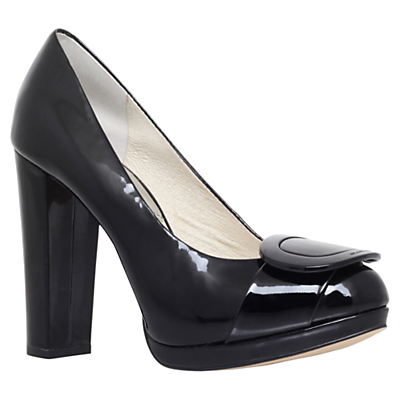 Pauline High Platform Court Shoes, Black Patent - predominant colour: black; material: leather; heel height: high; heel: block; toe: round toe; style: courts; finish: patent; pattern: plain; occasions: creative work; season: s/s 2016