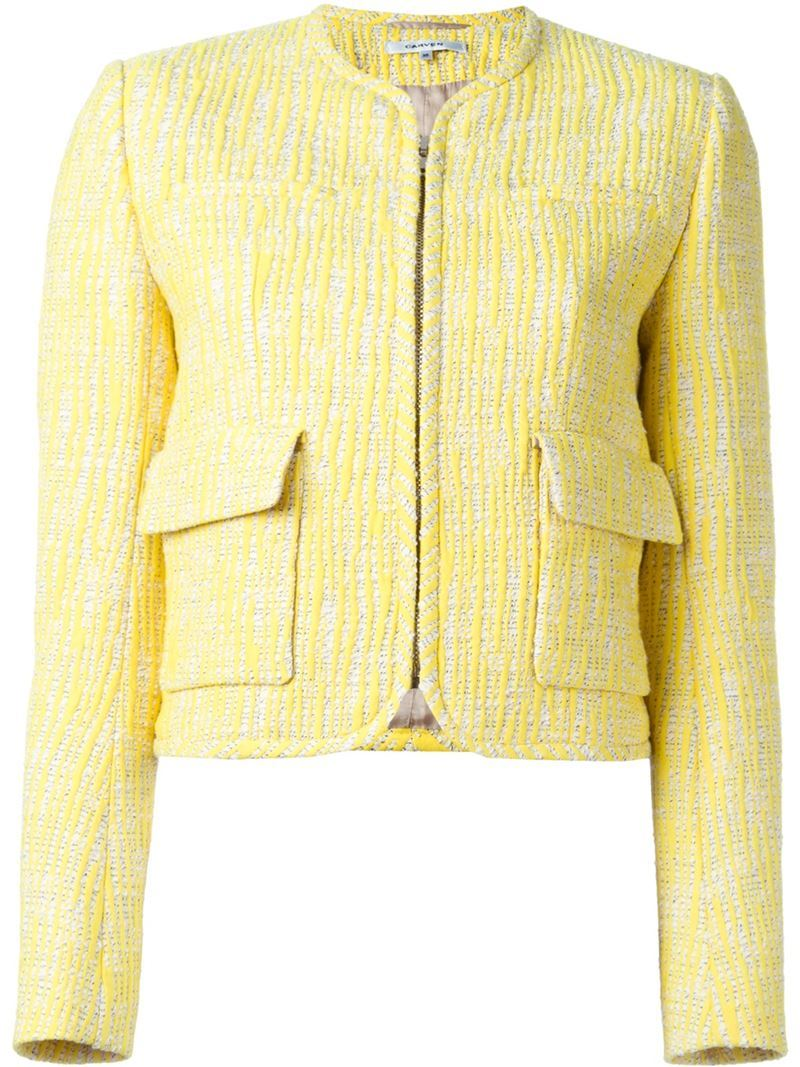 Patch Pocket Tweed Jacket, Women's, Yellow/Orange - style: single breasted blazer; collar: round collar/collarless; pattern: herringbone/tweed; predominant colour: primrose yellow; occasions: casual, creative work; length: standard; fit: tailored/fitted; fibres: cotton - mix; sleeve length: long sleeve; sleeve style: standard; collar break: high/illusion of break when open; pattern type: fabric; pattern size: light/subtle; texture group: tweed - light/midweight; season: s/s 2016; wardrobe: highlight