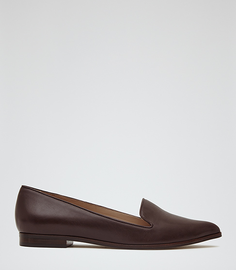 Volta Leather Point Toe Pumps - predominant colour: chocolate brown; occasions: casual, creative work; material: leather; heel height: flat; toe: round toe; style: loafers; finish: plain; pattern: plain; season: s/s 2016; wardrobe: basic