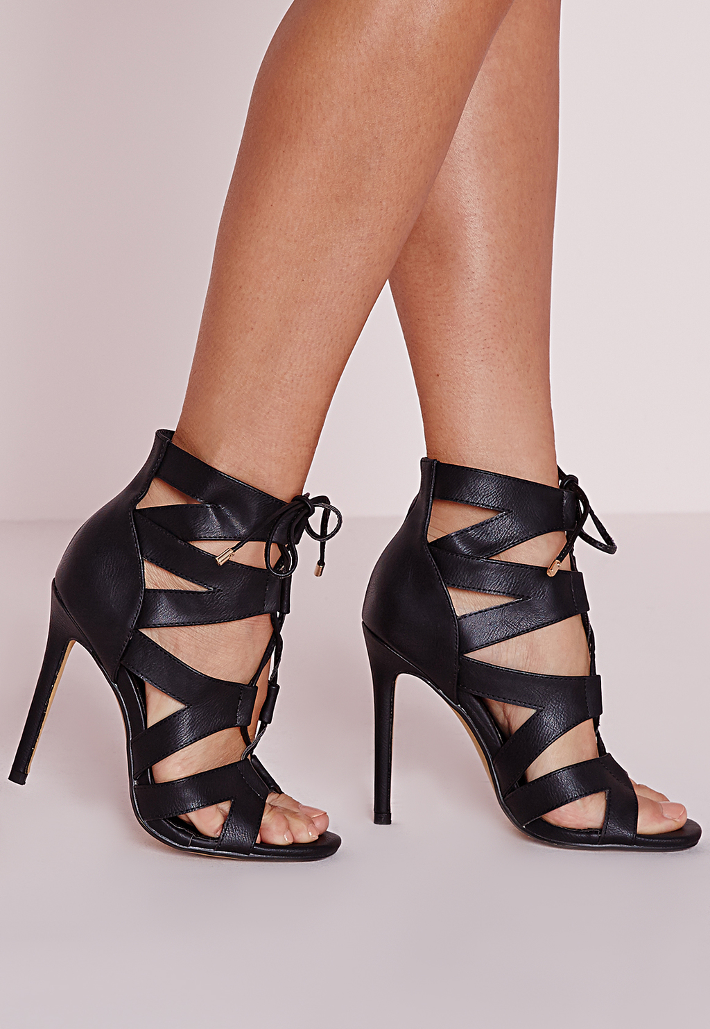 Cut Out Lace Up Gladiator Heels Black, Black - predominant colour: black; occasions: evening; material: faux leather; heel: stiletto; toe: open toe/peeptoe; style: gladiators; finish: plain; pattern: plain; heel height: very high; season: s/s 2016; wardrobe: event
