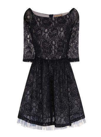 Womens **Laced In Love Black Embellished Dress Navy - neckline: round neck; bust detail: added detail/embellishment at bust; predominant colour: black; occasions: evening; length: just above the knee; fit: fitted at waist & bust; style: fit & flare; fibres: polyester/polyamide - 100%; hip detail: soft pleats at hip/draping at hip/flared at hip; sleeve length: 3/4 length; sleeve style: standard; texture group: lace; pattern type: fabric; pattern size: big & busy; pattern: patterned/print; embellishment: lace; season: s/s 2016
