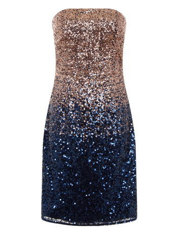 Womens **Laced In Love Blue And Gold Embellished Dress Blue - style: shift; neckline: strapless (straight/sweetheart); fit: tailored/fitted; sleeve style: strapless; back detail: back revealing; predominant colour: navy; secondary colour: gold; occasions: evening, occasion; length: just above the knee; fibres: polyester/polyamide - 100%; sleeve length: sleeveless; pattern type: fabric; pattern: colourblock; texture group: woven light midweight; embellishment: sequins; season: s/s 2016; wardrobe: event