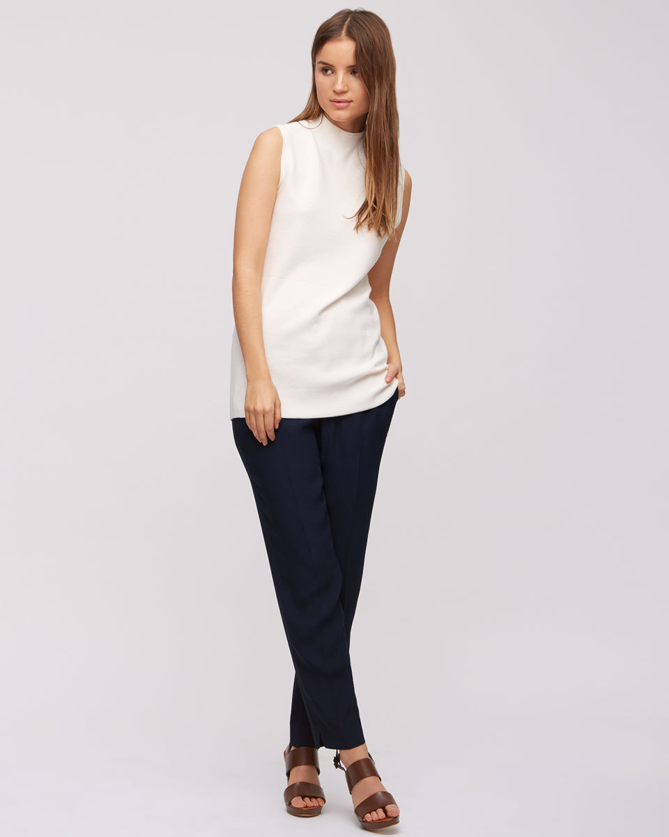 Relaxed Crepe Trousers - pattern: plain; waist: mid/regular rise; predominant colour: navy; occasions: casual, creative work; length: ankle length; fibres: polyester/polyamide - 100%; texture group: crepes; fit: slim leg; pattern type: fabric; style: standard; season: s/s 2016; wardrobe: basic