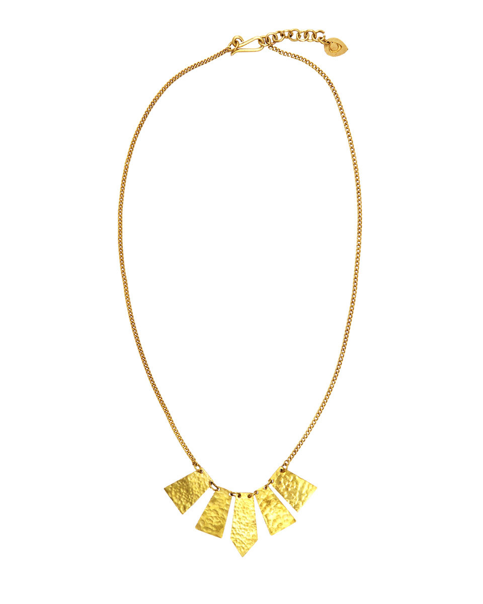Made Hammered Short Necklace - predominant colour: gold; occasions: casual, creative work; style: pendant; length: short; size: standard; material: chain/metal; finish: metallic; embellishment: chain/metal; season: s/s 2016; wardrobe: basic