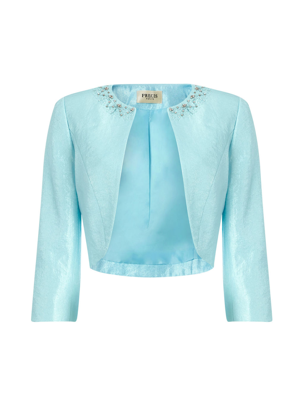 Embellished Bolero - pattern: plain; style: bolero/shrug; collar: round collar/collarless; predominant colour: turquoise; fit: tailored/fitted; occasions: occasion; sleeve length: 3/4 length; sleeve style: standard; texture group: structured shiny - satin/tafetta/silk etc.; collar break: low/open; pattern type: fabric; embellishment: beading; fibres: viscose/rayon - mix; length: cropped; season: s/s 2016; wardrobe: event