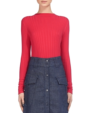 Frey Skinny Rib Knit - pattern: plain; predominant colour: true red; occasions: casual, work, creative work; length: standard; style: top; fibres: wool - mix; fit: tight; neckline: crew; sleeve length: long sleeve; sleeve style: standard; texture group: knits/crochet; pattern type: fabric; season: s/s 2016; wardrobe: highlight