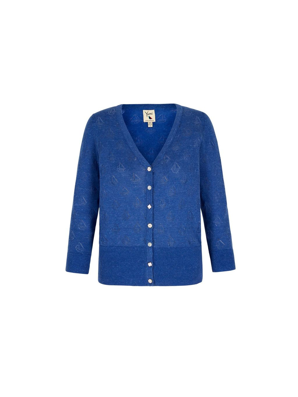 Boat Pointelle Cardigan, Blue - neckline: low v-neck; predominant colour: royal blue; occasions: casual; length: standard; style: standard; fibres: cotton - 100%; fit: standard fit; sleeve length: long sleeve; sleeve style: standard; texture group: knits/crochet; pattern type: knitted - fine stitch; pattern size: light/subtle; pattern: patterned/print; season: s/s 2016; wardrobe: highlight