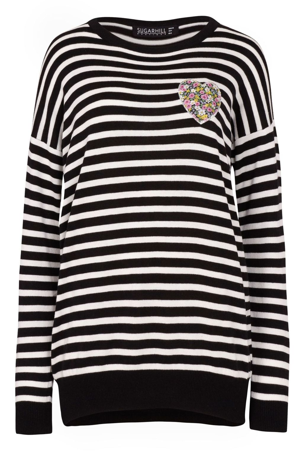 Gertrud Heart Stripe Applique Sweater, Black/White - neckline: round neck; sleeve style: raglan; pattern: horizontal stripes; length: below the bottom; style: standard; secondary colour: white; predominant colour: black; occasions: casual; fit: standard fit; sleeve length: long sleeve; trends: monochrome, graphic stripes; texture group: knits/crochet; pattern type: knitted - fine stitch; pattern size: standard; fibres: viscose/rayon - mix; season: s/s 2016; wardrobe: highlight