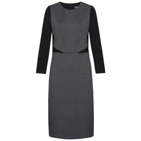 Imogen Dress, Blue - style: shift; length: below the knee; fit: tailored/fitted; pattern: plain; predominant colour: mid grey; secondary colour: black; occasions: work, creative work; fibres: viscose/rayon - stretch; neckline: crew; sleeve length: long sleeve; sleeve style: standard; pattern type: fabric; texture group: other - light to midweight; season: s/s 2016; wardrobe: highlight; embellishment location: waist