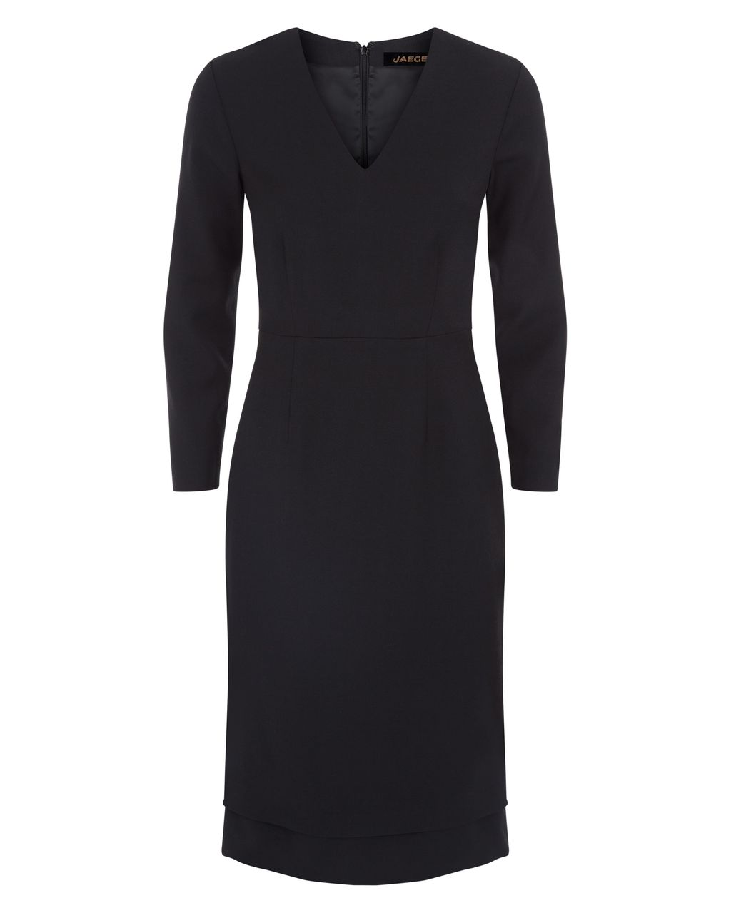 Floating Hem Dress, Black - style: shift; neckline: v-neck; fit: tailored/fitted; pattern: plain; predominant colour: black; occasions: work, creative work; length: just above the knee; fibres: wool - mix; sleeve length: 3/4 length; sleeve style: standard; texture group: crepes; pattern type: fabric; season: s/s 2016