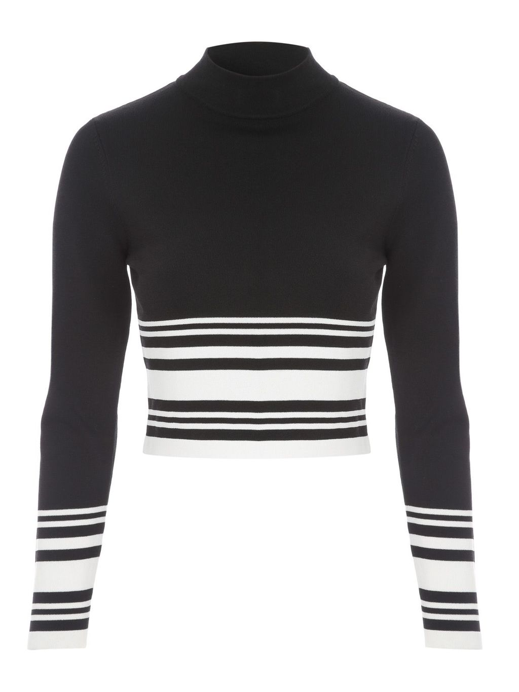 Co Ord Long Sleeve Jumper Style Top, Black/White - pattern: horizontal stripes; neckline: high neck; length: cropped; style: standard; secondary colour: white; predominant colour: black; occasions: casual, creative work; fit: slim fit; sleeve length: long sleeve; sleeve style: standard; texture group: knits/crochet; pattern type: knitted - fine stitch; pattern size: standard; fibres: viscose/rayon - mix; season: s/s 2016; wardrobe: highlight