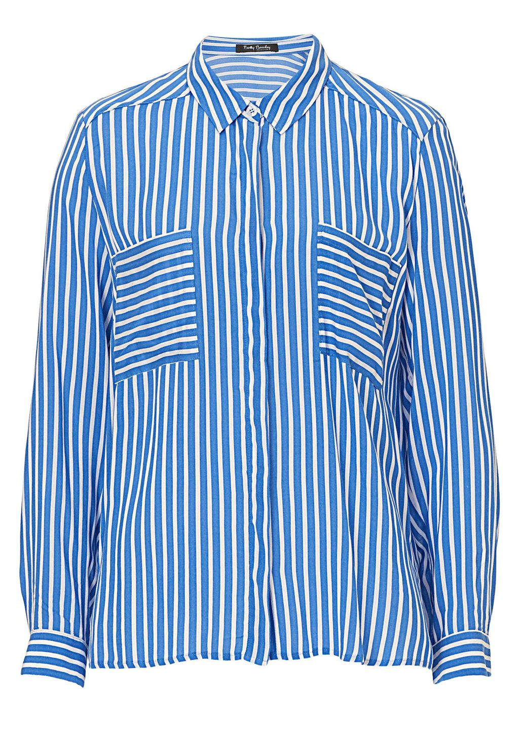 Striped Shirt, Blue - neckline: shirt collar/peter pan/zip with opening; pattern: vertical stripes; style: shirt; bust detail: pocket detail at bust; secondary colour: white; predominant colour: diva blue; occasions: casual, creative work; length: standard; fibres: viscose/rayon - 100%; fit: loose; sleeve length: long sleeve; sleeve style: standard; pattern type: fabric; texture group: other - light to midweight; season: s/s 2016; wardrobe: highlight