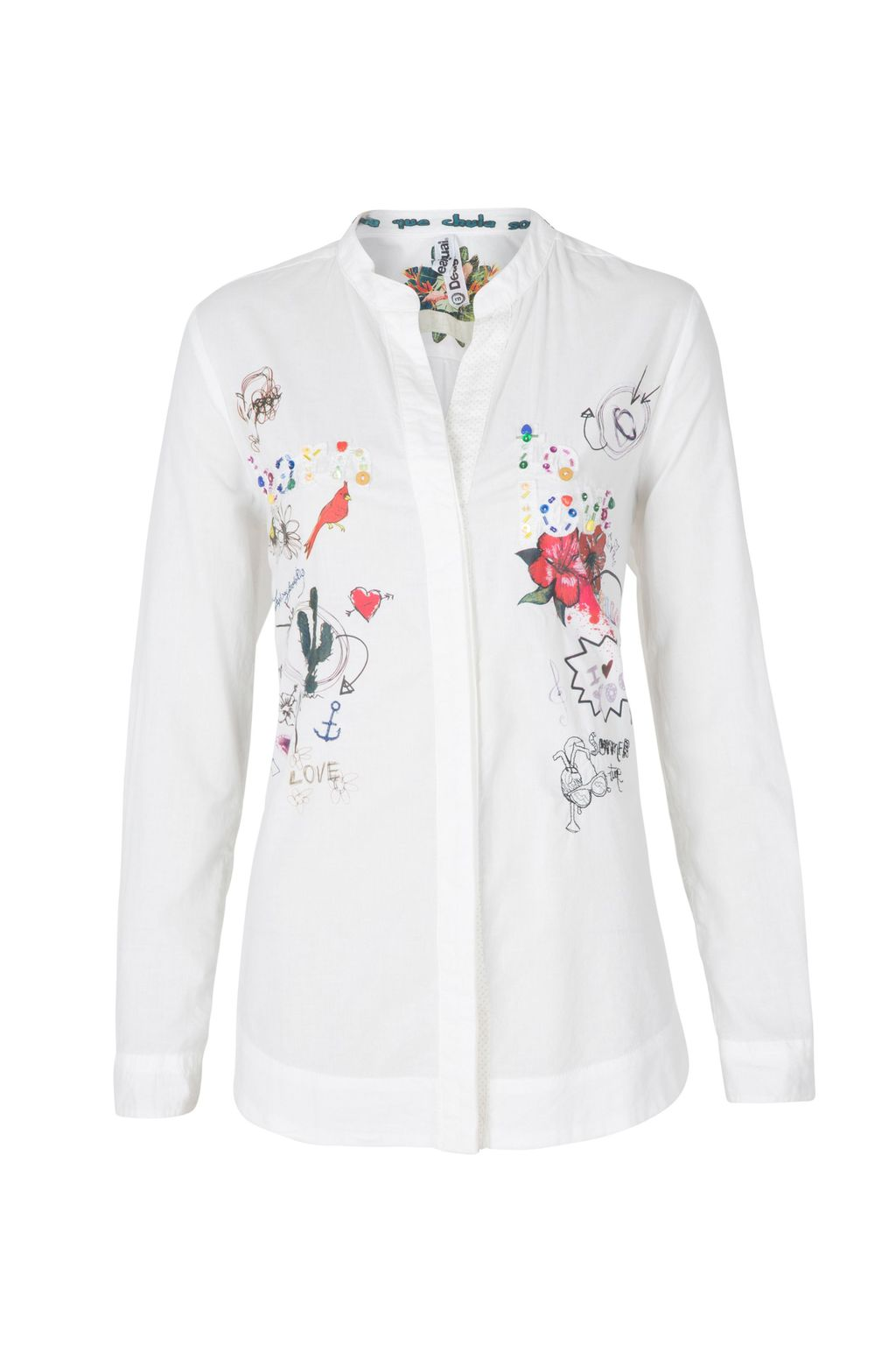 Hola Shirt, White - neckline: mandarin; style: shirt; predominant colour: white; occasions: casual, creative work; length: standard; fibres: cotton - 100%; fit: body skimming; sleeve length: long sleeve; sleeve style: standard; texture group: cotton feel fabrics; pattern type: fabric; pattern size: standard; pattern: florals; season: s/s 2016; wardrobe: highlight