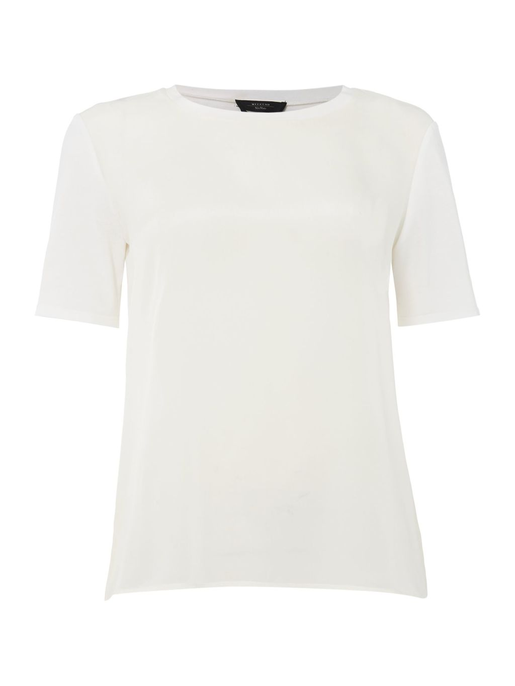 Aggravi Short Sleeve Top, White - pattern: plain; style: t-shirt; predominant colour: white; occasions: casual; length: standard; fibres: viscose/rayon - stretch; fit: body skimming; neckline: crew; sleeve length: short sleeve; sleeve style: standard; pattern type: fabric; texture group: jersey - stretchy/drapey; season: s/s 2016; wardrobe: basic