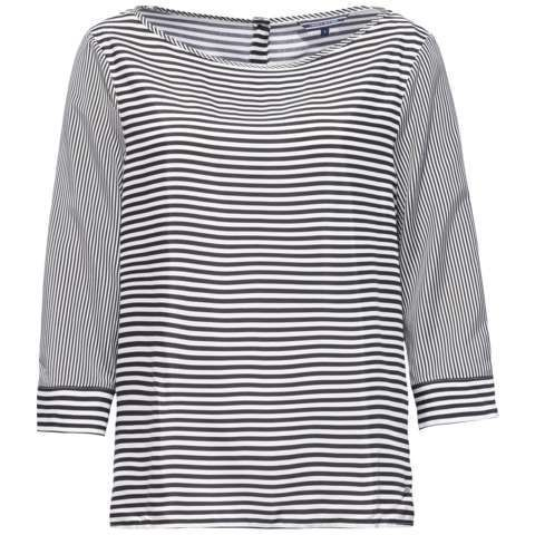 Esther Top, Black - neckline: round neck; pattern: horizontal stripes; secondary colour: white; predominant colour: black; occasions: casual; length: standard; style: top; fibres: viscose/rayon - 100%; fit: straight cut; sleeve length: 3/4 length; sleeve style: standard; pattern type: fabric; pattern size: standard; texture group: jersey - stretchy/drapey; season: s/s 2016