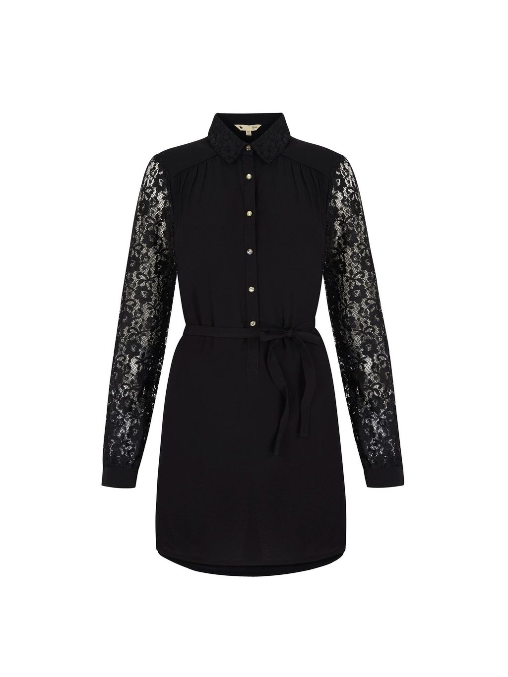 Lace Sleeve Shirt Dress, Black - style: shirt; neckline: shirt collar/peter pan/zip with opening; predominant colour: black; occasions: casual, evening, creative work; length: just above the knee; fit: fitted at waist & bust; fibres: viscose/rayon - 100%; sleeve length: long sleeve; sleeve style: standard; pattern type: fabric; pattern size: standard; pattern: patterned/print; texture group: other - light to midweight; embellishment: lace; season: s/s 2016; wardrobe: highlight