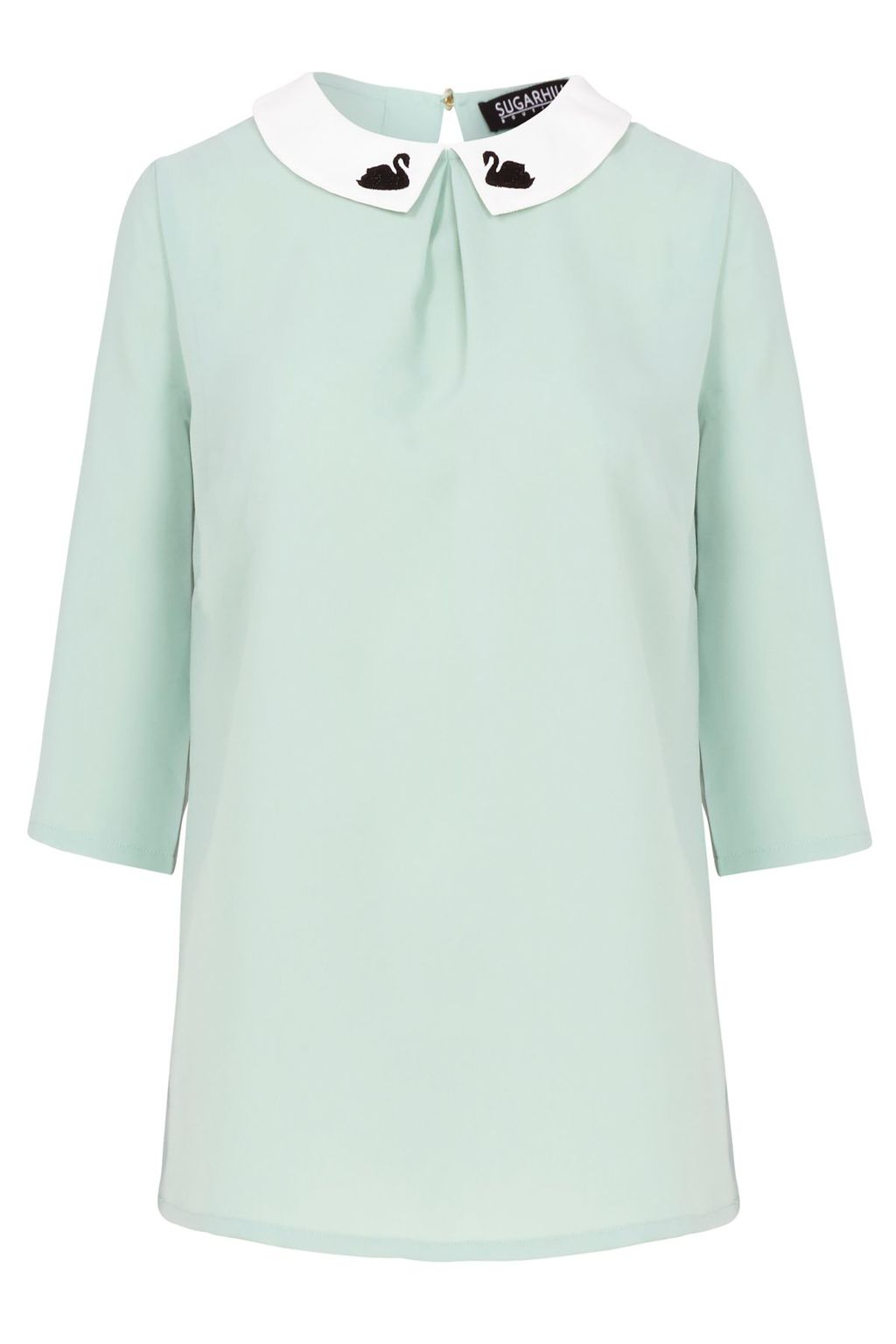 Nala Swan Embro Top, Green - secondary colour: white; predominant colour: pistachio; occasions: casual, creative work; length: standard; style: top; fibres: polyester/polyamide - 100%; fit: straight cut; neckline: no opening/shirt collar/peter pan; back detail: keyhole/peephole detail at back; sleeve length: 3/4 length; sleeve style: standard; texture group: crepes; pattern type: fabric; pattern: colourblock; embellishment: embroidered; season: s/s 2016; wardrobe: highlight