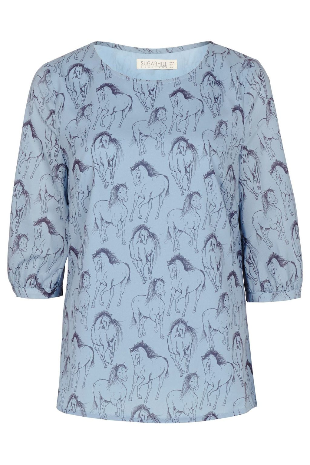 Fifi Running Horse Cross Back Top, Blue - neckline: round neck; predominant colour: pale blue; secondary colour: navy; occasions: casual, creative work; length: standard; style: top; fibres: polyester/polyamide - 100%; fit: body skimming; sleeve length: 3/4 length; sleeve style: standard; texture group: crepes; pattern type: fabric; pattern size: light/subtle; pattern: patterned/print; season: s/s 2016; wardrobe: highlight