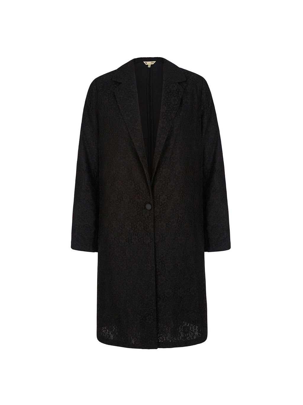Lace Tailored Jacket, Black - style: single breasted blazer; collar: standard lapel/rever collar; predominant colour: black; occasions: evening, creative work; fit: straight cut (boxy); fibres: polyester/polyamide - mix; length: mid thigh; sleeve length: long sleeve; sleeve style: standard; texture group: leather; collar break: low/open; pattern type: fabric; pattern size: light/subtle; pattern: patterned/print; season: s/s 2016; wardrobe: highlight