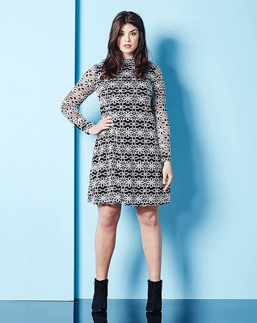 Lace Dress - style: shift; neckline: high neck; secondary colour: white; predominant colour: black; occasions: evening; length: just above the knee; fit: body skimming; fibres: polyester/polyamide - mix; sleeve length: long sleeve; sleeve style: standard; texture group: lace; pattern type: fabric; pattern size: standard; pattern: patterned/print; embellishment: lace; multicoloured: multicoloured; season: s/s 2016; wardrobe: event; embellishment location: pattern