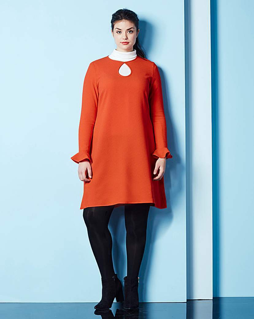 Key Hole Bell Sleeve Dress - style: tunic; length: mid thigh; fit: loose; pattern: plain; predominant colour: bright orange; occasions: evening, creative work; neckline: peep hole neckline; fibres: polyester/polyamide - 100%; sleeve length: long sleeve; sleeve style: standard; texture group: crepes; pattern type: fabric; season: s/s 2016; wardrobe: highlight