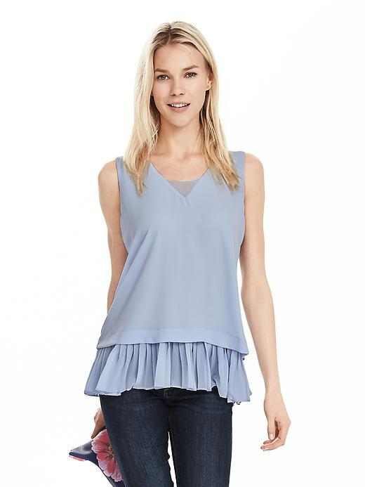 Pleat Hem Layered Tank Light Blue - neckline: v-neck; pattern: plain; sleeve style: sleeveless; style: vest top; predominant colour: pale blue; occasions: casual; length: standard; fibres: polyester/polyamide - 100%; fit: body skimming; hip detail: subtle/flattering hip detail; sleeve length: sleeveless; texture group: crepes; pattern type: fabric; season: s/s 2016; wardrobe: highlight