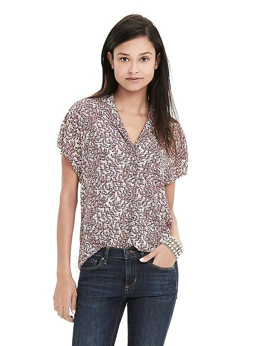 Bird Print Crepe Short Sleeve Blouse Cocoon - neckline: v-neck; style: blouse; predominant colour: ivory/cream; secondary colour: burgundy; occasions: casual, creative work; length: standard; fibres: polyester/polyamide - 100%; fit: loose; sleeve length: short sleeve; sleeve style: standard; texture group: crepes; pattern type: fabric; pattern: patterned/print; pattern size: big & busy (top); season: s/s 2016; wardrobe: highlight