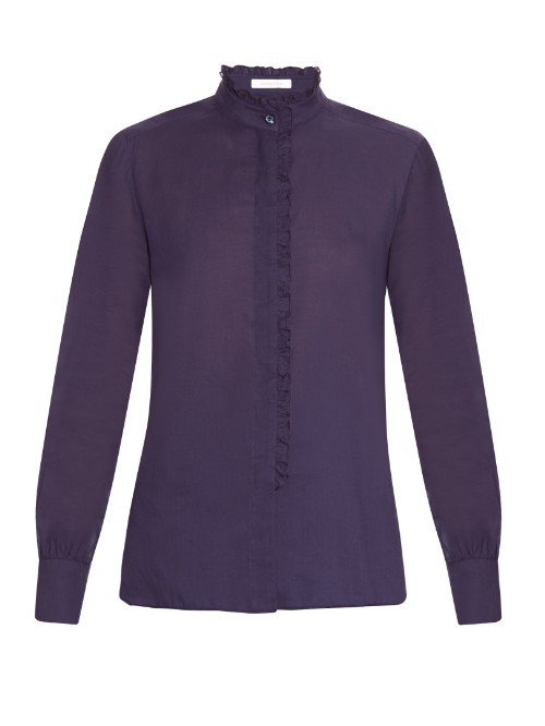 Ruffle Trimmed Cotton Blouse - pattern: plain; style: shirt; predominant colour: aubergine; occasions: casual, creative work; length: standard; neckline: collarstand; fibres: cotton - 100%; fit: straight cut; sleeve length: long sleeve; sleeve style: standard; texture group: cotton feel fabrics; bust detail: bulky details at bust; pattern type: fabric; season: s/s 2016; wardrobe: highlight