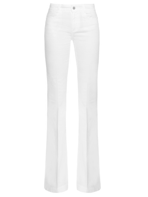 High Rise Flared Jeans - style: flares; length: standard; pattern: plain; waist: high rise; predominant colour: white; occasions: casual; fibres: cotton - 100%; texture group: denim; pattern type: fabric; season: s/s 2016; wardrobe: highlight