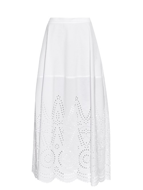Penelope Broderie Anglaise Panel Maxi Skirt - length: ankle length; fit: loose/voluminous; waist: high rise; predominant colour: white; occasions: casual, creative work; style: maxi skirt; fibres: cotton - 100%; pattern type: fabric; pattern: patterned/print; texture group: broiderie anglais; season: s/s 2016; wardrobe: highlight